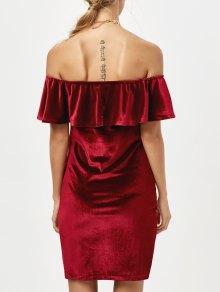 Velvet Crepe Bardot Bodycon Mini Dress - BURGUNDY M