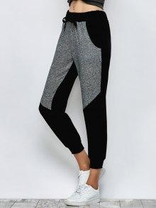 Color Block Heathered Sporty Pants - Black