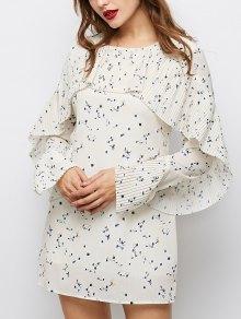 Flounce Ruffles Tiny Floral Mini Dress - Palomino