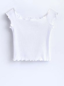 Off Shoulder Ruffles Crop Top - White M