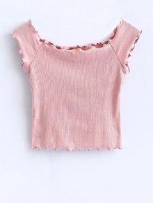 Off Shoulder Ruffles Crop Top - Pink S