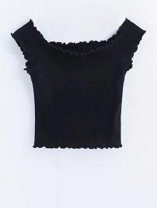 Off Shoulder Ruffles Crop Top - Black