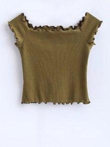 Off Shoulder Ruffles Crop Top - Army Green S