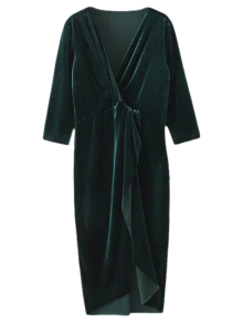 Asymmetric Velvet Midi Wrap Dress