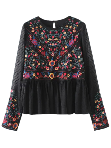 Embroidered Floral Flounce Blouse
