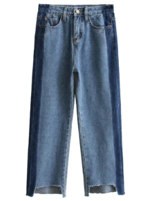 Frayed Mom Fit Jeans - Denim Blue
