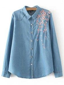 Palm Blossom Embroidered Plus Size Denim Shirt - Denim Blue 2xl
