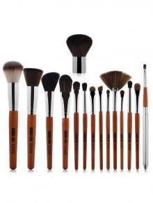 15 Pcs Portable Makeup Brushes Set - Silver