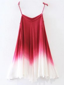 Ombre Trapeze Slip Dress - Red L