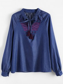 Embroidered Bib Denim Blouse