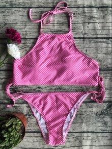 Side Tie Halter Plaid Bikini Set