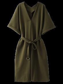 Tie Waist Kimono Sleeve Work Dress