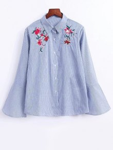 Flare Sleeve Embroidered Striped Shirt