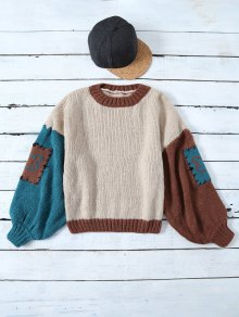 Patched Slash Neck Color Block Sweater - Khaki