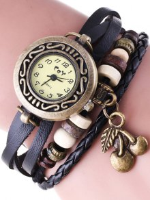 Braided Strand Bracelet Watch - Black