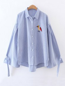 Embroidered High-Low Striped Shirt