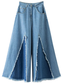 High Rise Frayed Culotte Jeans - Denim Blue