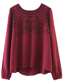 Ethnic Embroidered Blouse - Red L