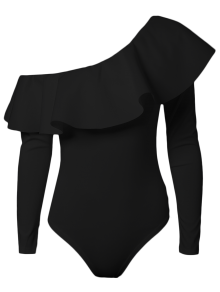 Ruffles Long Sleeve Skinny Bodysuit - Black S