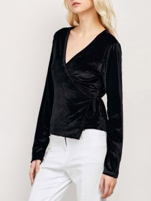 Long Sleeve Velvet Wrap Top