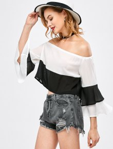 Bell Sleeve Off Shoulder Color Block Blouse
