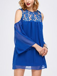 Cold Shoulder Lace Chiffon Tunic Blouse
