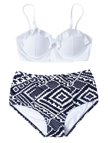 Geo High Waisted Underwired Bikini - Blue And White L
