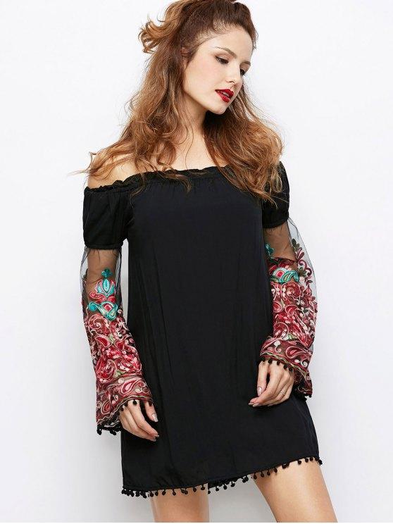 Off Shoulder Paisley Dress - BLACK 2XL Mobile