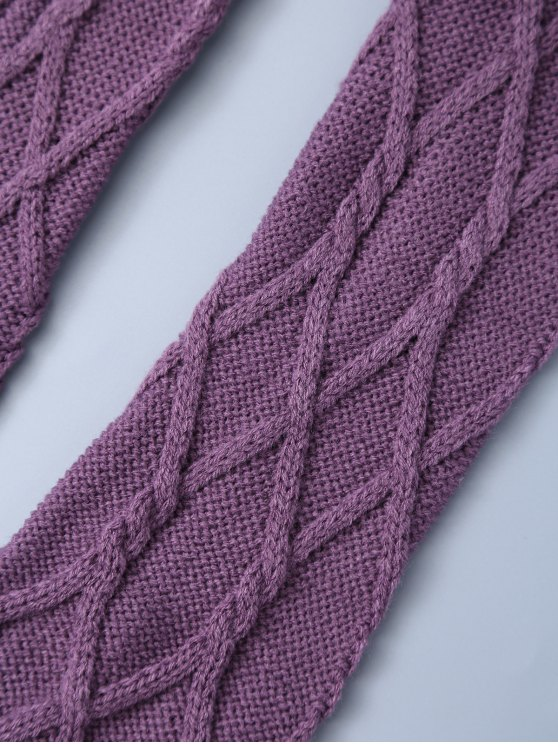 Notched Skinny Knitting Stockings - PURPLE ONE SIZE Mobile