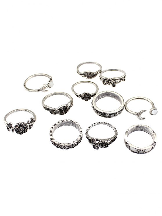 Flower Leaf Rhinestoned Jewelry Ring Set - SILVER  Mobile