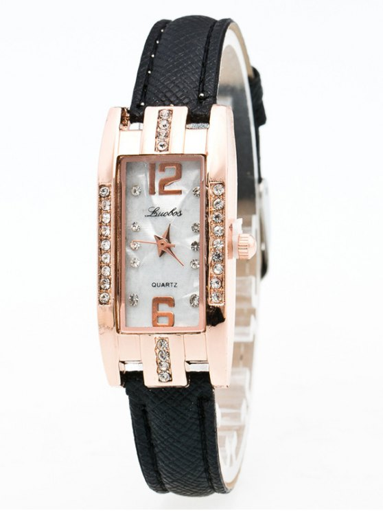Faux Leather Rhinestone Rectangle Watch - BLACK  Mobile