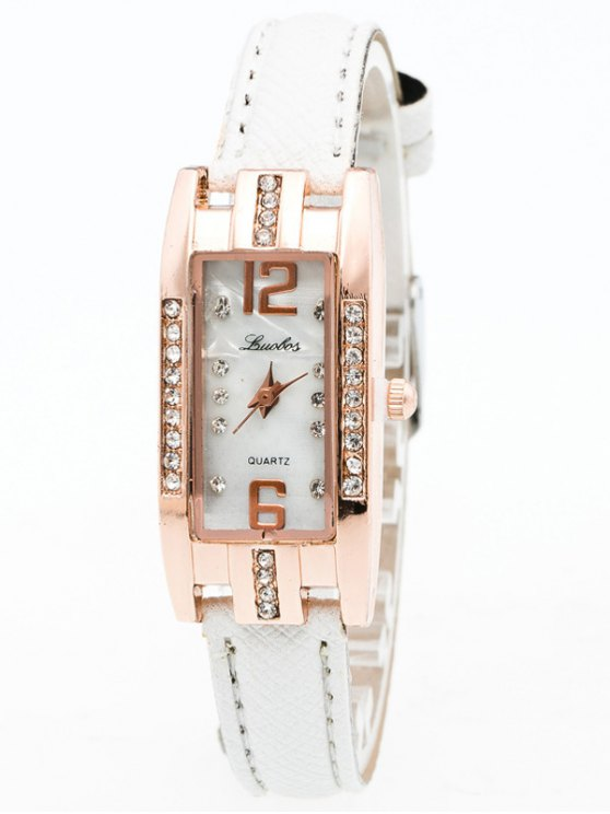 Faux Leather Rhinestone Rectangle Watch - WHITE  Mobile