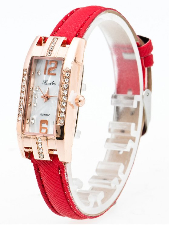 Faux Leather Rhinestone Rectangle Watch - RED  Mobile