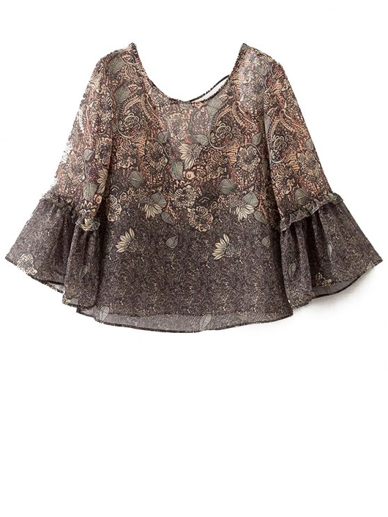 Printed Strappy Back Blouse - COLORMIX L Mobile