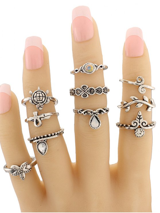 Leaf Tortoise Geometric Jewelry Ring Set - SILVER  Mobile