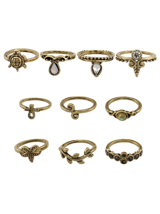 Leaf Tortoise Geometric Jewelry Ring Set - GOLDEN  Mobile