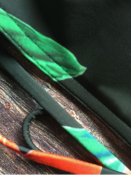 Crisscross High Neck Floral Bikini - BLACK S Mobile