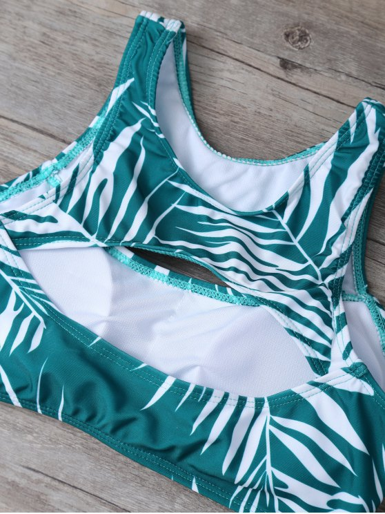 Tropical Print Cut Out Bikini Set - GREEN L Mobile