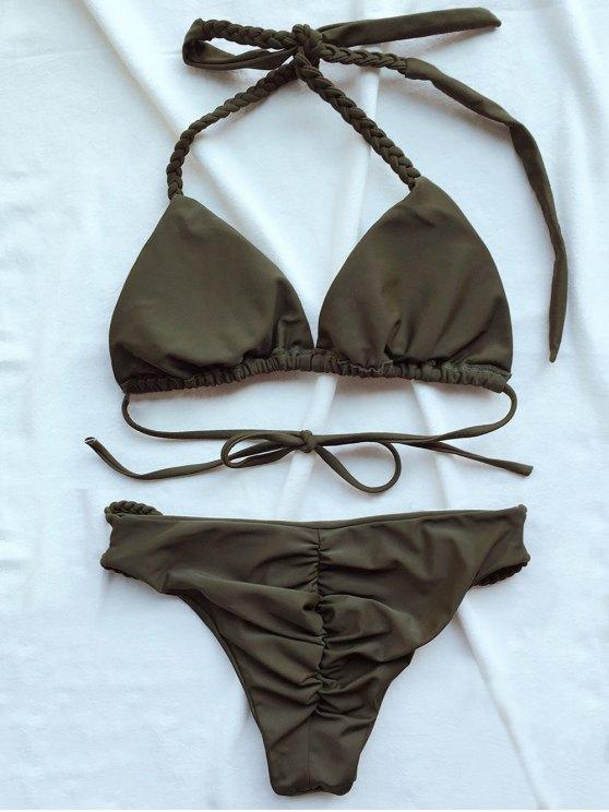 Braided Low Cut Halter Bikini - ARMY GREEN L Mobile