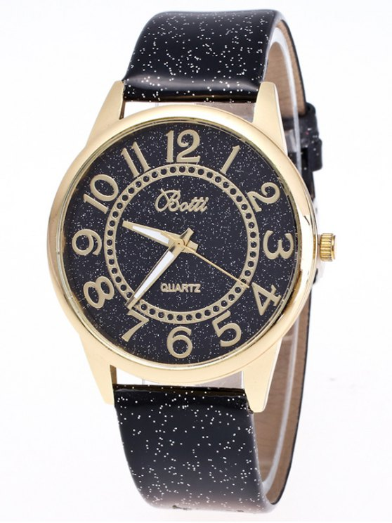 Faux Leather Glitter Number Watch - BLACK  Mobile