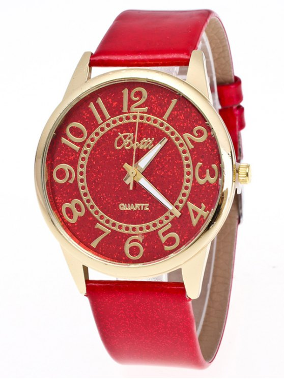 Faux Leather Glitter Number Watch - RED  Mobile