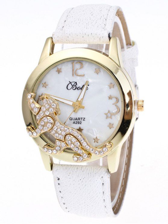 Faux Leather Leopard Quartz Watch - WHITE  Mobile