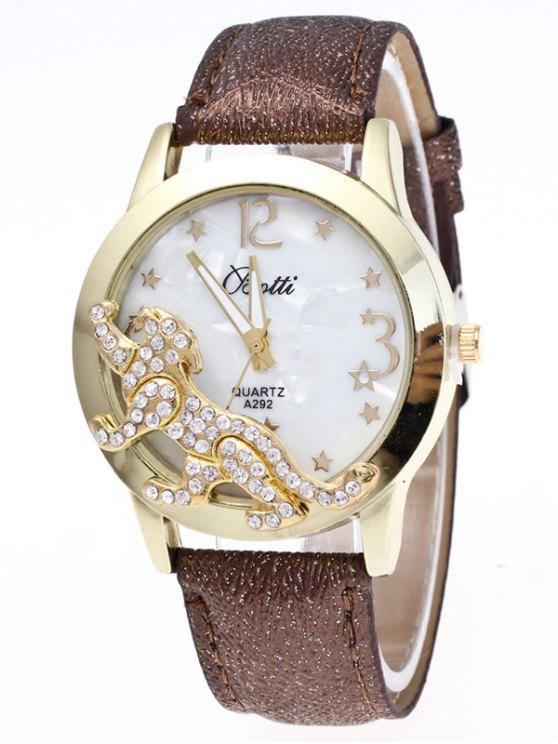 Faux Leather Leopard Quartz Watch - BROWN  Mobile