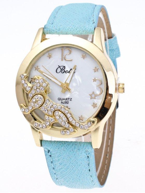 Faux Leather Leopard Quartz Watch - LIGHT BLUE  Mobile