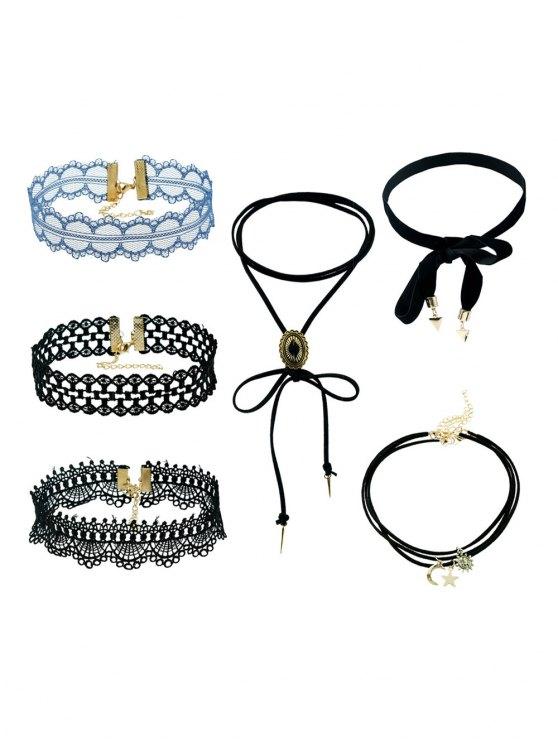 6 PCS Lace Star Moon Necklaces - BLACK  Mobile