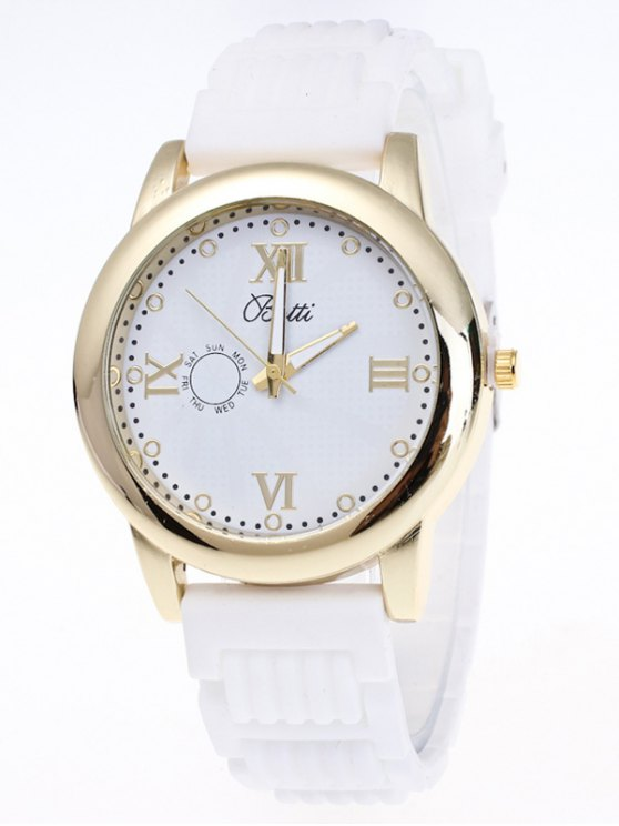 Silicone Roman Numerals Quartz Watch - WHITE  Mobile