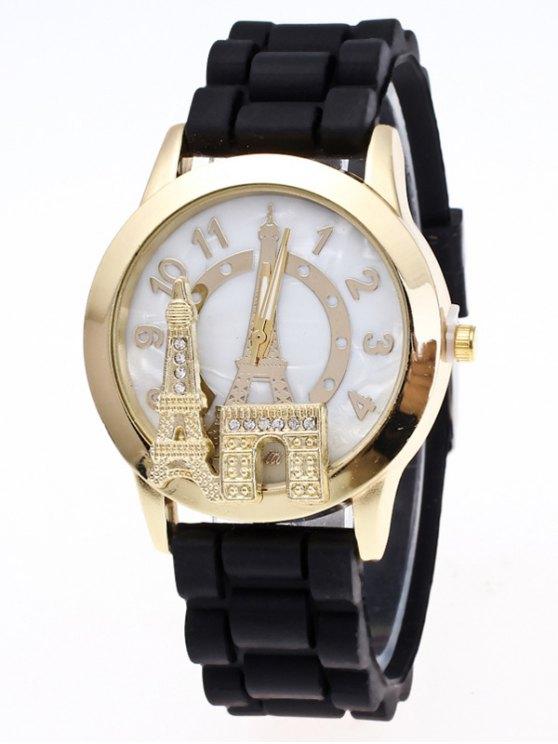 Eiffel Tower Silicone Quartz Watch - BLACK  Mobile