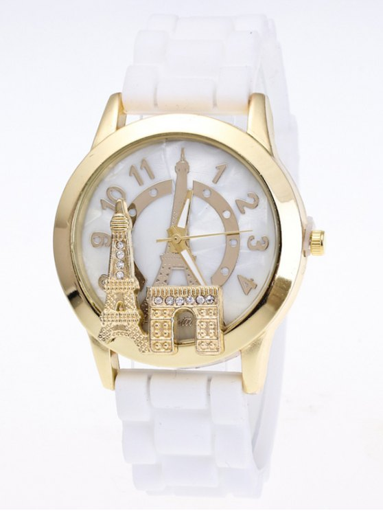 Eiffel Tower Silicone Quartz Watch - WHITE  Mobile