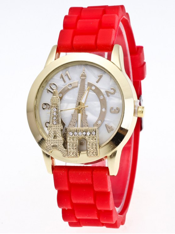 Eiffel Tower Silicone Quartz Watch - RED  Mobile