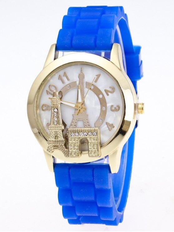 Eiffel Tower Silicone Quartz Watch - BLUE  Mobile